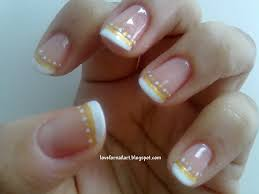 love for nail art basic white and gold french tips