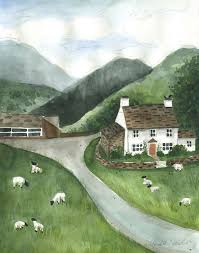 Landscape With Houses by Irish Farm Landscape With White House Cottage Folk Art