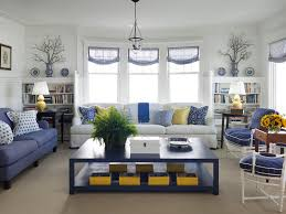 blue sofa living room design living room transitional with white