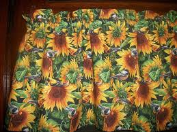 Sunflower Valance Curtains Sunflowers Flowers Birds Fabric Kitchen Curtain Window Topper