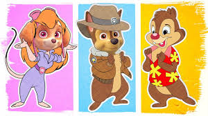 paw patrol as chip and dale rescue rangers fun coloring pages