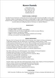 resume example personal assistant resume examples family