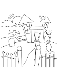 haunted house coloring pages free kids coloringstar