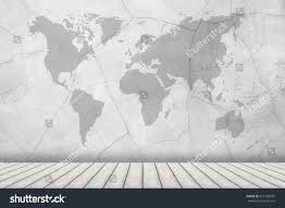 World Map On Wood Planks by Interior Room Dirty White Concrete Cement Stock Photo 413186089