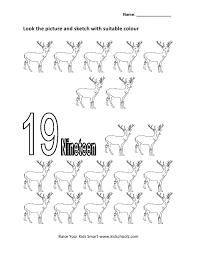 numbers colouring worksheet nineteen kidschoolz