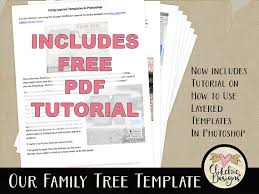 family tree template vintage genealogy template 12x12