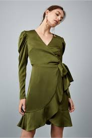 sleeve wrap dress this moment sleeve wrap dress olive keepsake bnkr