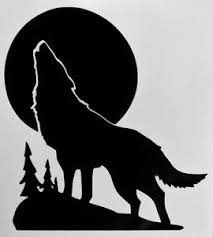 wolf howling moon silhouette car truck window vinyl decal sticker