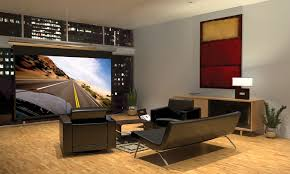 home theater room design ideas sleek round glass table twin table