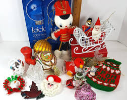 Christmas Decorations Online Belgium by Vintage 1950s Christmas Decorations Etsy