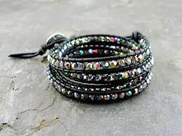 swarovski crystal leather bracelet images Leather wrap bracelet swarovski crystal best bracelets jpg