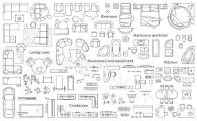 Layout Apartment Set Of Furniture Top View For Apartments Plan The Layout Of The