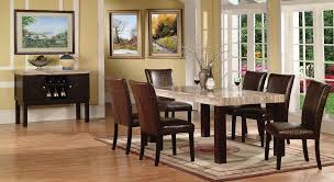marble top dining table set fraser casual style faux marble top crocodile pu chairs 7pc dining