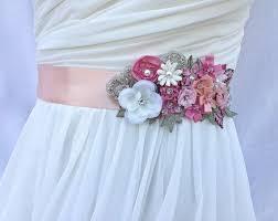 bridal sash wedding sash in blush pink ivory rose and peach with