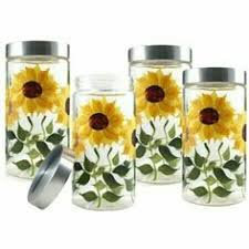sunflower kitchen canisters features dishwasher safe material ceramic set includes 3