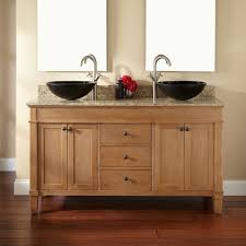 natural teak wood bathroom vanity with drawers and black marble white porcelain bathroom sink