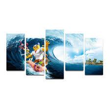 surf home decor wall art canvas print hd ocean wave surf sunset