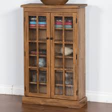 Sunny Design Furniture Rustic Oak Cd Cabinet With Rainfall Glass Doors By Sunny Designs