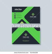 Flat Design Business Card Modern Black Green Business Card Template Stock Vector 614484206