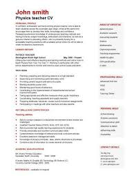 Sample Hobbies For Resume by Cv Template For Teaching Position