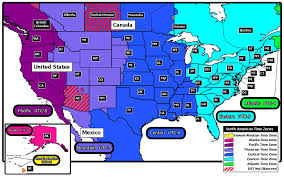 North American Time Zones Map by Ontimezonecom Time Zones For The Usa And North America Printable