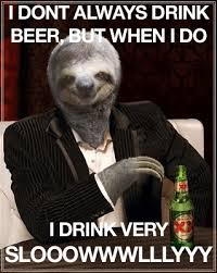 I Dont Always Meme - sloth meme i dont always drink beer just slothing around