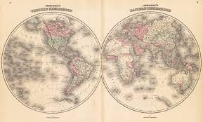 Map Of Western Hemisphere 1862 Johnson U0027s Eastern U0026 Western Hemisphere U2013 Hjbmaps Com Harlan
