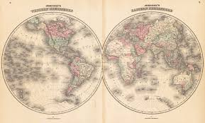Eastern World Map by 1862 Johnson U0027s Eastern U0026 Western Hemisphere U2013 Hjbmaps Com Harlan