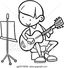 eps illustration boy guitar coloring vector clipart