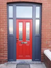Unique Front Doors Unique Red Altmore Composite Door With Zinc Prairie Glass Design
