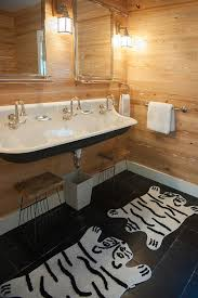 Zebra Print Bathroom Rugs Cottage Mudroom With Black Trough Sink And Three Faucets Cottage