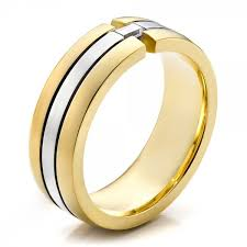 men gold ring design men s two tone gold and diamond wedding band 100146