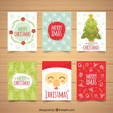 set of cute christmas cards vector free download