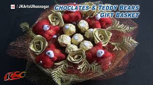 diy chocolates and teddy bear gift basket valentine u0027s day gift