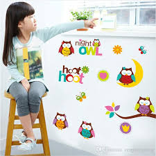 colorful owl cute birds good night removable vinyl kindergarten