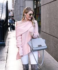 Blush Pink Cardigan Blush Pink Off The Shoulder Sweater With Goodnight Macaroon