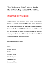 toro mower repair manual