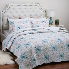 turquoise quilted coverlet com printed quilt coverlet set king 106 x96 blue aqua