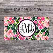 monogrammed plate girly pink roses monogram license plate monogramcase