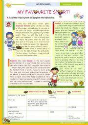 english teaching worksheets sports reading