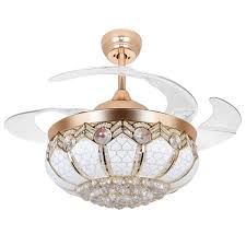 rs lighting crystal hanging drop gold ceiling fan with remote