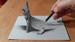 drawing 3d crocodile how to draw crocodile trick art on paper