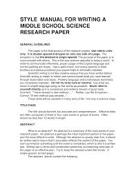 Example Of Research Essay Writing A Science Research Paper Middle