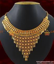 golden necklace designs images Nckn196 gold plated hand made choker design arabian design net jpg