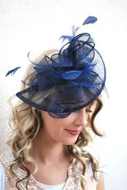 tea party hats navy blue fascinator womens tea party hat church hat derby