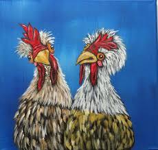 chicken painting original acrylic canvas wall decor farmhouse