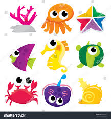 vector stock illustration set cartoon sea stock vector 288207071