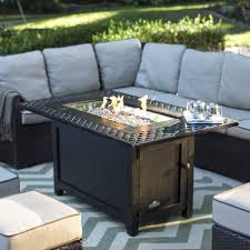 Patio Table With Firepit Ember Seagrove 48 In Rectangle Propane Pit Table With