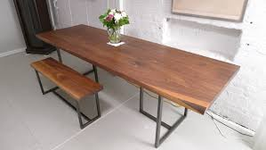 long brown clear coating wooden dining table with iron based legs
