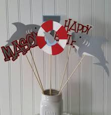 6 boy shark party centerpiece picks shark centerpieces shark